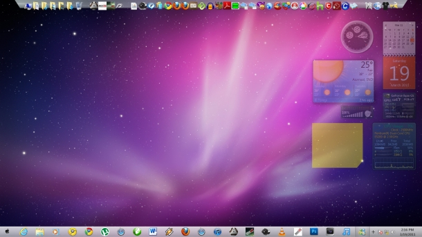 A Mac theme, gadgets, RocketDock, Pinned Icons - and Check the result